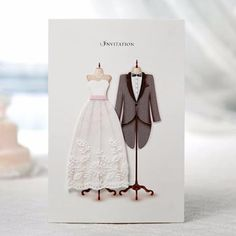 White Fabric Embossed Lace Dress & Tuxedo Wedding Invitations - SW 3027
