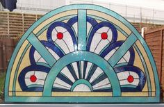 Manchester Style Semi Circle Panel Static Window Cling hand painted manchester window clings window art stained glass effects suncatchers decals stickers [] - £39.99 : Funky Window Art!, Window clings, suncatchers, stained glass effects