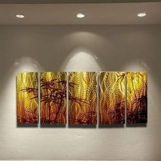 Abstract metal wall art painting Oriental bamboo by HawkArtWorks, $199.00
