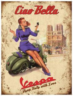 vespa posters | Vespa Ciao Bella - 50x70cm metalen wandplaat, klik voor beste weergave