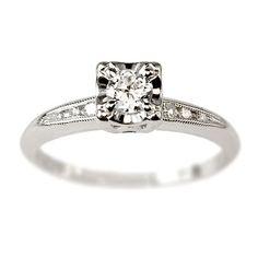 Love this...Marlene Diamond Vintage Engagement Ring circa 1950 | Vintage Engagement Rings | Turtle Love Co. Jewelry