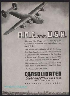 1941 WW II Consolidated B-24 B24 Liberator for R.A.F. Aircraft WWII WW2 AD