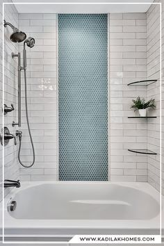 Shower tile ideas / Hexagon, Subway, MasterBath  White subway tile for your shower #kadilakhomes #bathroomtile #showertile #showertilepatterns hexagon design pattern blue hexagon tile #bathroomdesign #bathroomtile
