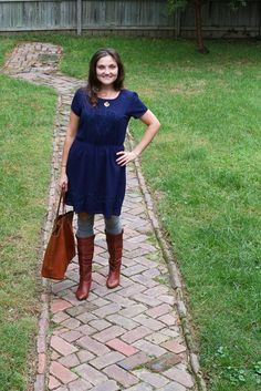 Dress that could be paired with tights, brown boots, and a cardigan
