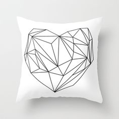 Heart Graphic (black on white) Throw Pillow by Mareike Böhmer Graphics - $20.00