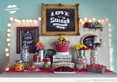 Candy Bar Love is sweet - candy bar Candy Buffet Bags, Candy Table, Dessert Buffet, Dessert Bars, Dessert Tables, Candy Car, Candy Bar Wedding, Festa Party, Cake Bars