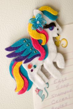 Pegasus My Little Pony Felt Magnet Custom Made For by DeerAshley Little Pony Party, My Little Pony, Little Poney, Felt Baby, Felt Patterns, Diy Hair Accessories, Felt Toys, Felt Ornaments, Felt Animals