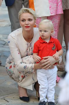 Prince Albert II and Princess Charlene of Monaco Attends the Monegasque throne during the traditional Monaco's picnic, on September 10, 2015 at Monaco.