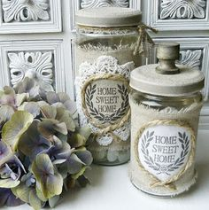DIY- Shabby Chic Jars With Printables