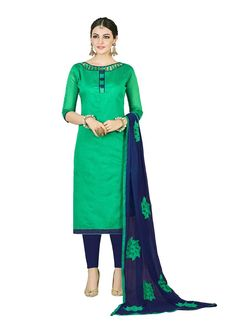 Find Here The Best Fashion Outfits This Summer And Look Simply Fabulous In This Green Colored Chanderi Cotton Suit. Its Skin Soft Light Fabric And Amazing Soothing Colors Makes It More Scintillating. Wear It Daily Or Wear It In A Function, You'll Look Stunning Anyway. Buy This Charming Suit Now.