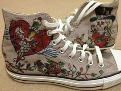 Hand Painted CONVERSE All Star Shoes Skull PUNK by ConverseFans, $99.00