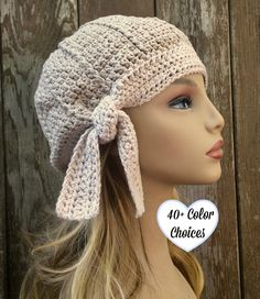 Cotton Beanie with Tie Summer BeanieCotton Cloche Chemo Spring Hats, Summer Hats, Hand Crochet, Crochet Baby, Crochet Tote, Crochet Flower Patterns, Hat Patterns, Crochet Ideas, Chemo Caps Pattern
