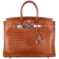 WHAT A FIND! HERMES BIRKIN BAG 35cm CROCODILE MATTE FAUVE POROSUS PHW ($250) ❤ liked on Polyvore featuring bags, handbags, hermes, birkin bag, croco handbags, handbag purse, purse bag, croc embossed handbags and brown handbags