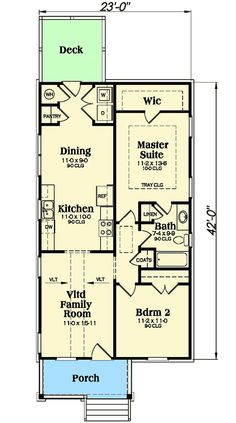 Darling Bungalow House Plan - floor plan - Main Level minimalist sq ft that will do the job. Maybe add a decent 3 car garage, with a little shop space and a bunk room, bath and play/game room above. Narrow House Plans, Small House Floor Plans, Basement House Plans, Cottage Style House Plans, Bungalow House Plans, Cottage House Plans, Bungalow Homes, Duplex House, Home Design