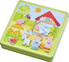 Haba toys at Babipur. Have fun on the farm with this magnetic game set in a tin. This Haba magnet set includes four background boards of farm scenes plus 122 magnets make up stories including Peter and Pauline's farming family, farm buildings, animals, fe Kids Toys Online, Tween Girl Gifts, Travel Toys, Games Box, Developmental Toys, Babies First Christmas, Baby Games, Le Moulin, Baby Play