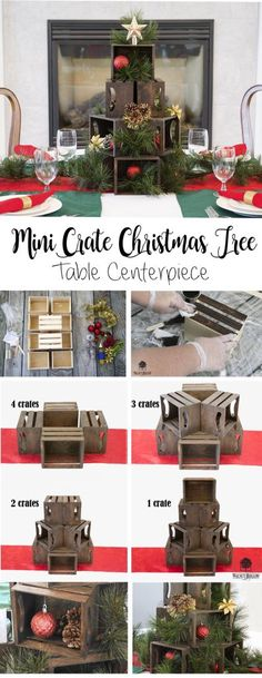 Walnut Hollow Mini Crates to create a beautiful Mini Crate Christmas Tree table Centerpiece.Use Walnut Hollow Mini Crates to create a beautiful Mini Crate Christmas Tree table Centerpiece. Christmas Tree On Table, Christmas Window Display, Rustic Christmas, All Things Christmas, Christmas Crafts, Christmas Decorations, Holiday Decor, Christmas Shop Displays, Vintage Decorations