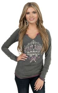 Panhandle Women's Vintage Grey Spirit Riders Rodeo Long Raglan Sleeve Knit Shirt | Cavender's