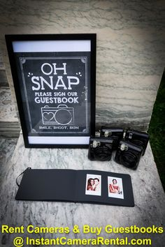 "Rent Polaroids and Guestbooks from InstantCameraRental.com. Shown Fuji Instax 50S with 5""x8"" Guestbook Black Pages"