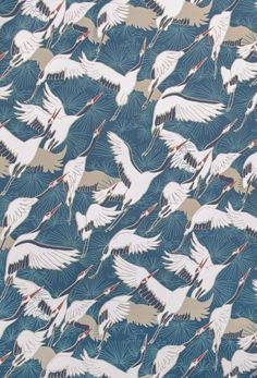 Emily Burningham Cranes Fabric, suitable for curtains, cushions and soft furnishings. Vintage Bird Wallpaper, Green Floral Wallpaper, Print Wallpaper, Vintage Birds, Wallpaper Iphone Cute, Japanese Patterns, Japanese Prints, Japanese Art, Art Deco Fabric