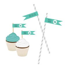 Personalized Bride & Co Flag Labels Bridal Shower Party Favor Favors Cupcake Straw Decoration Printed Monogram Monogrammed Co