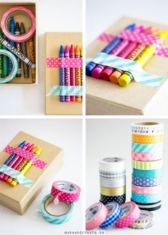 Gift Idea: A Box which the receiver can decorate him or her self - Fill it with Washi Tape, crayons and other craft supplies. Tape some of the crayons on the lid with Washi Tape Kids Wedding Favors, Kids Table Wedding, Kid Party Favors, Wedding With Kids, Party Bags, Wedding Ideas, Wedding Images, Wedding Colors, Wrapping Ideas