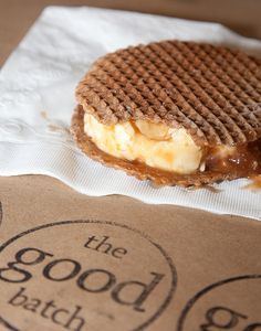 Stroopwafel Ice Cream Sandwich!!! Stroopwafels are the best thing ever invented, in case you didn't know.