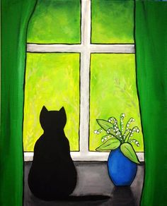 Black Cat Green Window , print Shelagh Duffett - This print is a reproduction of an acrylic painting. The image measures aprox inches X 9 inch - Oil Pastel Art, Pastel Drawing, Art Mini Toile, Art Fantaisiste, Bright Art, Arte Sketchbook, Mini Canvas Art, Cat Quilt, Whimsical Art
