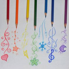 Pencil doodles . . . I could do something like this on clay with ceramic pencils - or stain applied with a brush . . .