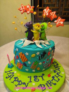 Barney and Friends Theme Birthday Cake