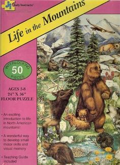 Life in the Mountains Floor Puzzle - 50 Piece by Judy/Instructo. $15.95. teaching guide included. Exciting introduction to the mountains. Made in U.S.A.. 50 interlocking pieces. improves visual memory. Life in the Mountains Floor Puzzle  Colorful puzzle showing animals and plants typical of the North American Mountains Perfect for children from 3 to 8. Teaching Guide included.  50 pieces measuring 2 ft. x 3 ft. when completed.