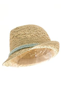 Sincerely Sweet Hat - Summer Fields Straw Fedora Hat with Mint Rope Cord Trims