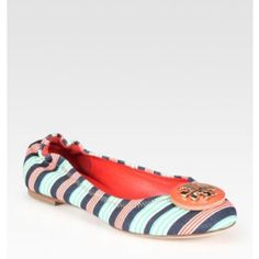 Tory Burch Striped Canvas Flats Worn a few times, there is wear on heels but other than that awesome condition! Comes with box. Will trade! Tory Burch Shoes Flats & Loafers