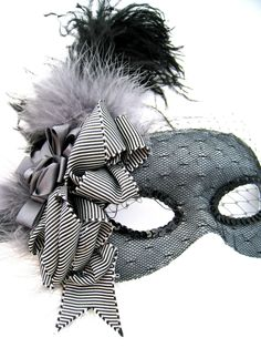 Black and Gray Masquerade Mask- with feathers and veil. $94.00