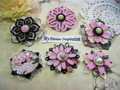 These OOAK handmade embellishments are great for your scrapbook pages, card making, mini albums, book and box decoration, journal and