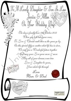 DAUGHTER & SON- IN- LAW WEDDING DAY PERSONALIZED SCROLL | eBay