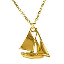 A scale model of Alex's own Suffolk Sailing Boat, this nautical necklace celebrates lazy days on the river. Handmade in England by Alex Monroe Jewellery Nautical Necklace, Gold Necklace, Pendant Necklace, Alex Monroe, Antique Jewelry, Jewelry Necklaces, Jewellery, Sailing Boat, Jewelry Design