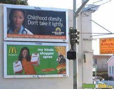 Childhood obesity don't take it lightly - ad below it: Mcdonald