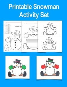 Snowman Activity Set Color by number Writing paper Ornament template Christmas Printable Activities, Fun Activities, Ornament Template, Writing Numbers, Paper Ornaments, Writing Paper, Snowman, Kindergarten, Valentines