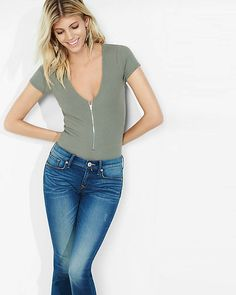 Express One Eleven Ribbed Zip Front Bodysuit | Express