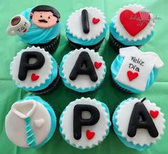 Fathers Day Cupcakes, Cupcakes For Men, Fathers Day Cake, Fun Cupcakes, Cupcake Cookies, Cakepops, Dad Cake, Cupcakes Decorados, Dad Birthday Cakes