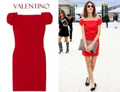 In Alexa Chung's Closet – Valentino Off-The-Shoulder Wool-Blend Crepe Dress