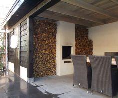 Leuk afdak, ook de tegels mooi, zelfde kleur als huiskamer.