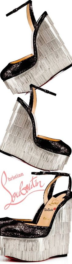 Téa Tosh Louboutin, Charlestonissima High Heel Sneakers, Sneaker Heels, Studio 54 Style, Black Pumps Heels, Stilettos, Basket A Talon, Red Bottom Shoes, Fringe Fashion, Beautiful Heels