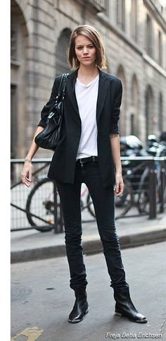 pants fiacktted - gray instead of bl, shorter fit blazer, booties -less chunky. tshirt