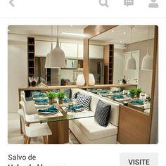Exatamente desse jeito que nós pretendemos fazer a sala de jantar. O banco e o espelho já estavam nos planos, e claro, outros detalhes. Tbm não serão as mesmas cores... Mas esta serve como #inspiração. > Foto via Pinterest <