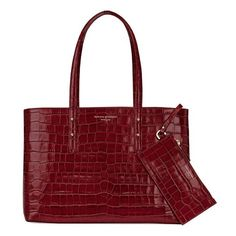 Aspinal of London Regent Tote In Deep Shine Bordeaux Croc & Navy Suede ($570) ❤ liked on Polyvore featuring bags, handbags, tote bags, totes, shopper tote, over the shoulder purse, coin purse, navy tote bag and tote handbags