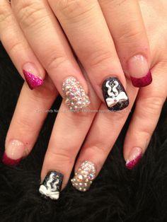 Black, pink and silver nail art with Swarovski crystals and 3D acrylic bow nail art