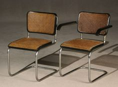 Set of Eight Marcel Breuer Chrome-Plated Tubular Steel and Ebonized Wood Caned Seat Dining Chairs Manufactured by Thonet, Circa 1932-1937 Fine Arts & 20th Century Decorative Arts - Sale 1296 - Lot 569 - ADAM A. WESCHLER & SON, INC : AUCTIONEERS AND APPRAISERS - SINCE 1890