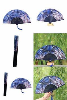 [Visit to Buy] Chinese Silk Sakura Folding Bamboo Hand Fans Art Handmade Wedding Bridal Gift Festive Party Supplies  #Advertisement