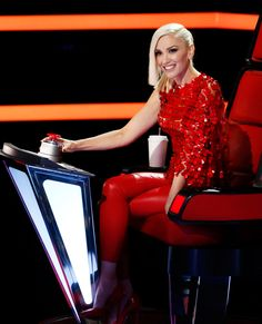 Gwen Stefani's Best Fashion Moments from Season 9 of The Voice - HEAD-TO-TOE CRIMSON from InStyle.com